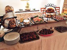 Buffet served on a vintage toboggan.