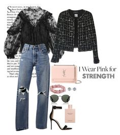 """""""Blush Pink"""" by masekennb ❤ liked on Polyvore featuring Chloé, Yves Saint Laurent, Chanel, Gianvito Rossi, Levi's, Ferrucci, Ray-Ban and Gucci"""