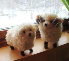 Delightful expressions! Needle Felted Sheep and Lamb  Soft Sculpture by McBrideHouse, $86.00