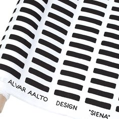 "Artek Siena White/Black Cotton Fabric Designed in 1954 by Alvar Aalto himself, the Artek Siena White/Black Cotton Fabric is part the abc Collection, which aims to inspire the ""alphabet of living."" With a simple yet striking design on high-. Alvar Aalto, Graphic Design Pattern, Graphic Patterns, Siena, Contemporary Upholstery Fabric, Scandinavia Design, Textiles, Selling Furniture, Art Graphique"