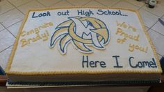 8th grade graduation cake. This is all buttercream and for the school emblem I did a frozen buttercream transfer.