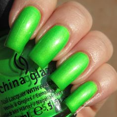 China Glaze - I'm With the Lifeguard  Color : Bright warm lime-y green neon with shimmer