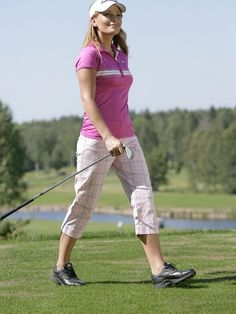 Pink Golf Polo with Patterned Golf Capris