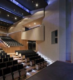 Theatre in Almonte by Donaire Arquitectos Auditorium Architecture, Auditorium Design, Theatrical Scenery, Theatre Design, Timber Flooring, Old Buildings, Concert Hall, Dezeen, Performing Arts