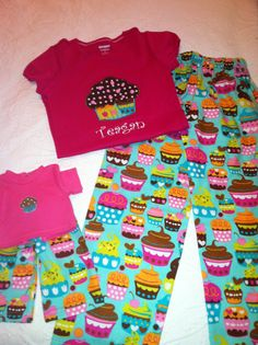 custom set of matching girl & doll pajamas in the cupcake fabric.  Appliqued cupcake from fabric print...to cute! Sold on Etsy.