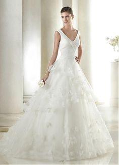 Glamorous Tulle V-neck Neckline Natural Waistline A-line Wedding Dress With Handmade Flowers & Beadings only $239.99 angel-bride.com