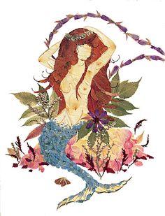 Original Mystic Mermaid Art - Fantasy Female Flower Art - 16 x 20 Nude Fine Art Print - Imagine Magic