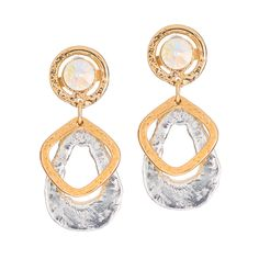 Gold and Silver Swarovski crystal earrings made with white and yellow gold . Hypoallergenic, excellent quality, great for everyday use