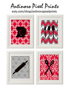 Red Black White Greys Unframed Kitchen by antinoropixelprints, $45.00