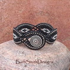 Beaded Leather Cuff Wrap Bracelet Black Silver Woven