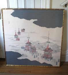 Found this awesome vintage piece on etsy.com. Printed chinoiserie silk panel. Faux gold bamboo frame.