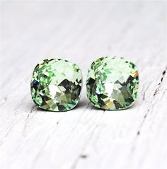 Icy Mint Green Earrings Super Sparklers Square by MASHUGANA, $24.50