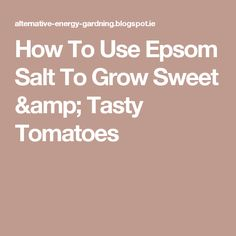 How To Use Epsom Salt To Grow Sweet & Tasty Tomatoes