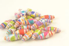 22 Colourful Pastels PAPER BEADS Upcycled by ChezChaniSupply, $2.50