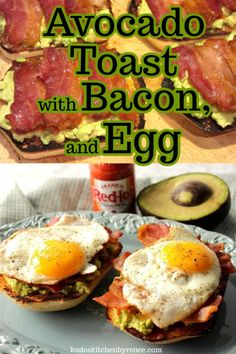 The very best Avocado Toast with Bacon and Egg gets a flavorful kick with a dash (or two) of hot sauce. It's the perfect sandwich for any time of day. Healthy Sandwich Recipes, Easy Brunch Recipes, Egg Recipes For Breakfast, Avocado Recipes, Breakfast For Dinner, Healthy Eating Recipes, Bacon Recipes, Breakfast Dishes, Brunch Ideas