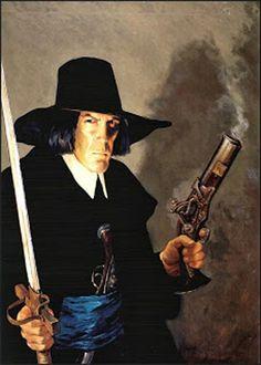 illustration of Robert E. Howard's Puritan hero, Solomon Kane, by Gary Gianni.