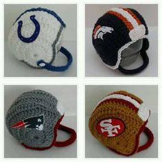 Crochet Baby Football Helmetchoose your by handmadebychhunneang Crochet Kids Hats, Crochet For Boys, Crochet Beanie, Love Crochet, Crochet Crafts, Crochet Projects, Knit Crochet, Crocheted Hats, Crochet Football