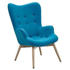 Designer Ohren Sessel Petrol Mit Armlehnen Aus Wolle Blau | Anjo | Blauer  Club