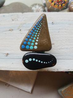 Imán de velero nevera Clip pintada piedra por P4MirandaPitrone