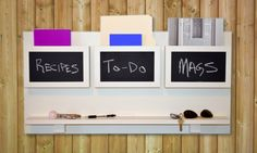 Spring Cleaning Chalkboard Mail Organizer Wall Mounted With Ledge. $89.99, via Etsy. Love it!