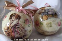 Купить Набор винтажных  ёлочных шаров Куклы - пластиковые шары, акриловые краски и лак, кракле