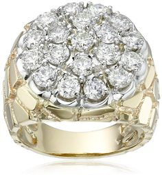 Men's 10k Two-Tone Gold with Nugget Side Accent Diamond Cluster Ring (3 cttw, H-I Color, I1-I2 Clarity), Size 11. All our diamond suppliers confirm that they comply with the Kimberley Process to ensure that their diamonds are conflict free. Made in the United States. Carat weight listed is the total for all stones.
