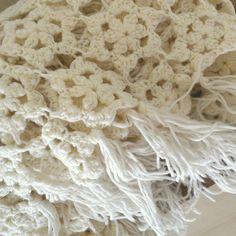 Vintage Winter White Star Crochet Throw Fringe Blanket. $32.00, via Etsy.