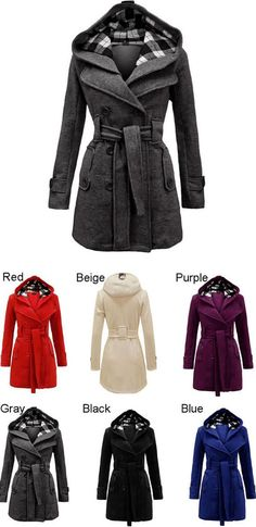 Fashion Lattice Fleece Hoodie Double Breast Coat Jacket for big sale! #coat #jacket #women #winter
