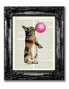 Hey, I found this really awesome Etsy listing at https://www.etsy.com/listing/201273698/rabbit-blowing-bubblegum-dictionary-art