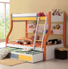 Lovely Kids Bunk Bed Idea for Girls in Orange-White Theme with Trundle Bed and Drawers and Bookshelves also Ladder and Catchy Colorful Beddings and Some Cute Dolls