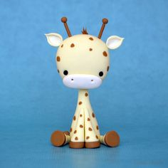 Baby Giraffe Tutorial - Polymer Clay or Sugar Paste (by Crumb Avenue Tutorials) Polymer Clay Animals, Fimo Clay, Polymer Clay Projects, Polymer Clay Charms, Polymer Clay Creations, Clay Crafts, Polymer Clay Tutorials, Polymer Clay Figures, Cake Topper Tutorial