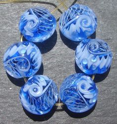 Lampwork beads 653 Lentils 6 Blue White and Clear by beadgoodies, $30.00