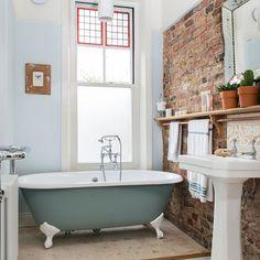 Exposed Brick Bathroom Ideas You Must See Brick Bathroom, Bathroom Renos, Bathroom Interior, Bathroom Ideas, Brick Wall In Bedroom, Bathroom Goals, Family Bathroom, Basement Bathroom, Bathroom Designs