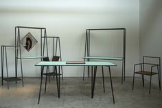 Alpina is a furniture collection that seeks to relate, with its slender lines and angular geometry, to the spaces it occupies not as volumes but rather as a set of vectors and planes in the air.