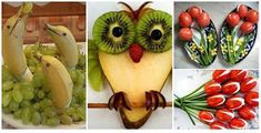 De Todo, Un Poco .: DECORACIONES CON FRUTAS Y VERDURAS Food Art, Yogurt, Healthy Snacks, Buffet, Appetizers, Food And Drink, Banana, Fruit, Recipes