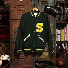 "Vintage Varsity: ""Yellow S"" Green/Yellow"
