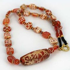 Ancient Decorated Carnelian Bead Knot Worked Collection
