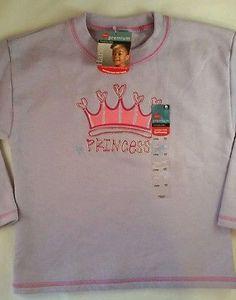 Hanes Shirt Toddler Size 5 Cotton Blend, Long Sleeve, Princess Crown, Purple
