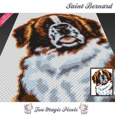 Saint Bernard crochet blanket pattern; knitting, cross stitch graph; pdf download; written counts, C2C row-by-row instructions included by TwoMagicPixels, $4.74 USD