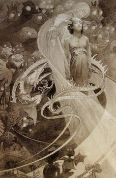 """Alphonse Mucha – Harder to find than his """"strong line"""" advertising and opera pieces, Mucha's paintings and larger lithographs exhibit a real technical mastery and cover some wacky topics."""