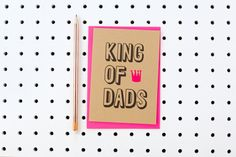 Father's Day Kraft card with neon pink detail available at photo Monkeys, Fathers Day, Stationery, Neon, Crafty, Detail, Pattern, Pink, Cards