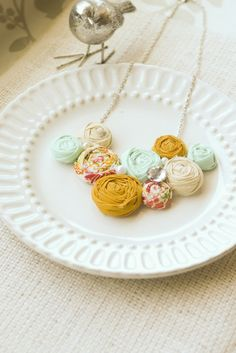 NETTIE    Mint cream mustard and floral rosette by lovestitched, $38.99