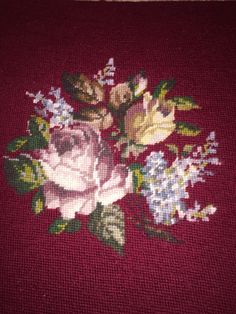 Finished Needlepoint Burgundy Chair Seat Cover RoseFloral Spray in Center #Unbranded #Handmade