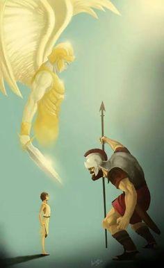 david and goliath angel Jesus Wallpaper, Christian Warrior, Christian Art, David Und Goliath, Pictures Of Jesus Christ, Jesus Christ Lds, Shadow Of The Almighty, Religion, Angel Warrior