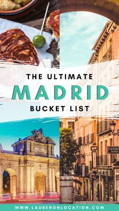 This is the Ultimate Madrid Bucket List made by a Madrid local. It includes where and what to eat and drink in Madrid, what sites to see, things to do and much more! If this is your first time visiting Madrid, or you're just looking to get the most out of Europe Destinations, Europe Travel Tips, European Travel, Travel Advice, Travel Guides, Backpacking Europe, Travel Abroad, Budget Travel, Cool Places To Visit