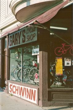 Chicago Photography, vintage bicycle shop photo, bikes, vintage architecture, cycle, cyclery, brown, sports, men, art, 8x12 35mm Film Print on Etsy, $33.00