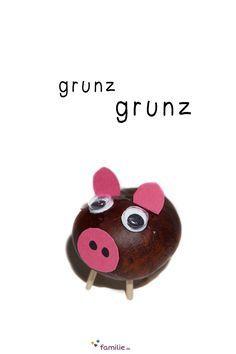 Eine Kastanie plus zwei rosa Öhrchen plus eine rosa Schnauze plus ein Ringelschwänzchen = ein Kastanien-Schwein!