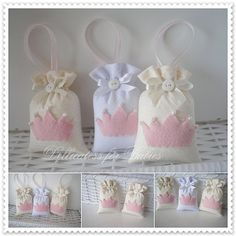 lembrancinha princesa e pr?ncipe - Dellicatess for Babies Baby Shawer, Baby Love, Felt Crafts, Diy And Crafts, Baby Favors, Lavender Bags, Fiesta Party, Girl Shower, Shower Baby