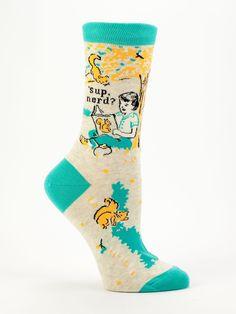 Blue Q Crew Sock - 'Sup nerd?