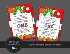 Caterpillar Birthday Invitation  YOU PRINT by 4UPrintableDesigns